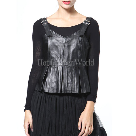 Buckle Strap Women Peplum Leather Top -  HOTLEATHERWORLD