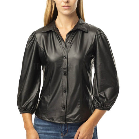Button Up Faux Pu Leather Shirt With Puff Sleeves