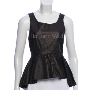 Classic Style High -Low Women Leather Peplum Top -  HOTLEATHERWORLD