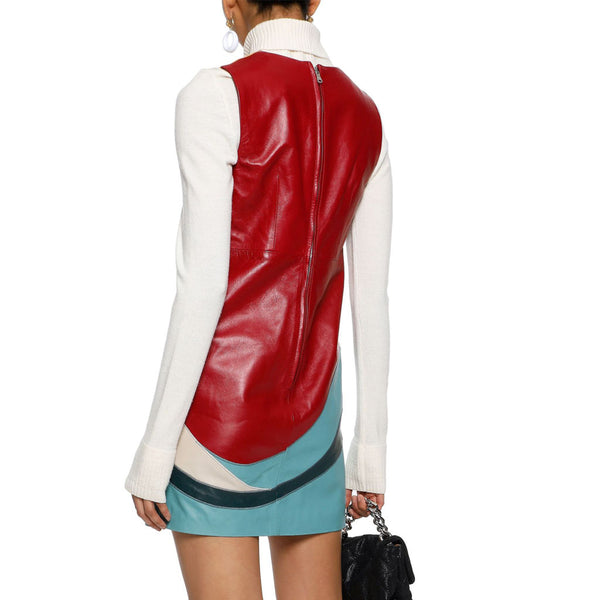 Color Block Style With Patches Mini Leather Dress -  HOTLEATHERWORLD