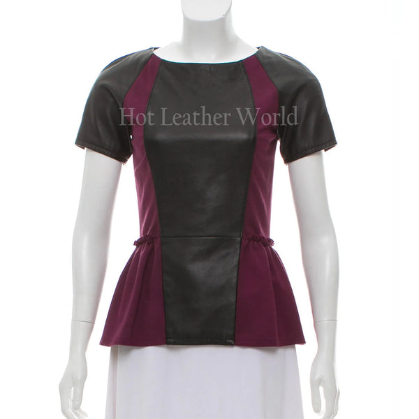 Color Block Style Women Leather Peplum Top -  HOTLEATHERWORLD