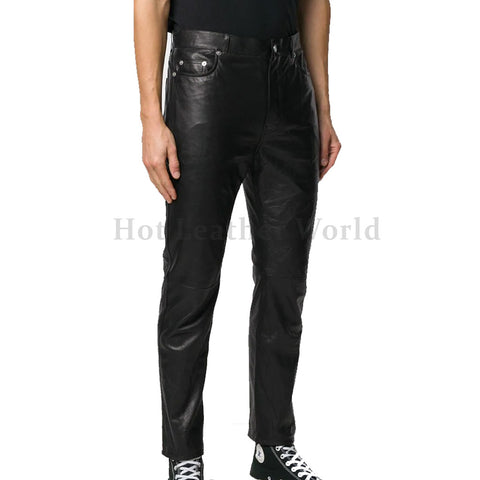 Corporate Style Slim-Fit Leather Trousers
