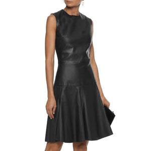 Corporate Wear Sleeveless Women Leather Dress -  HOTLEATHERWORLD