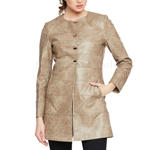 Crinkled Effect Women Leather Coat -  HOTLEATHERWORLD