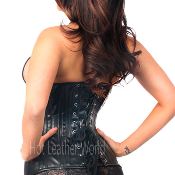Leather Steel Boned Corset -  HOTLEATHERWORLD