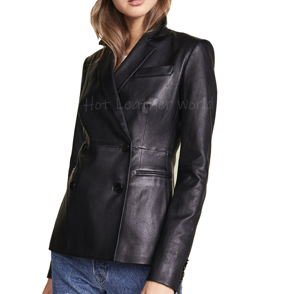 Double Breasted Paneled Women Leather Blazer -  HOTLEATHERWORLD