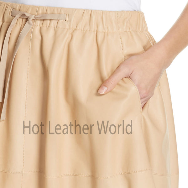 Elastic Waistband Withdraw String Women Leather Skirt -  HOTLEATHERWORLD