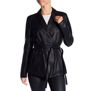 Belted Waist Women Elegant Leather Coat -  HOTLEATHERWORLD