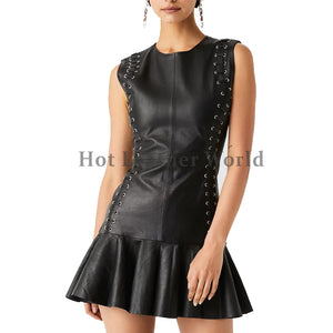 Eyelet Detailing Women Mini Leather Dress
