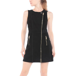 Front Zipper Closure Women Leather Dress -  HOTLEATHERWORLD