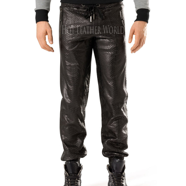 Crocodile Embossed Leather Pants For Men -  HOTLEATHERWORLD