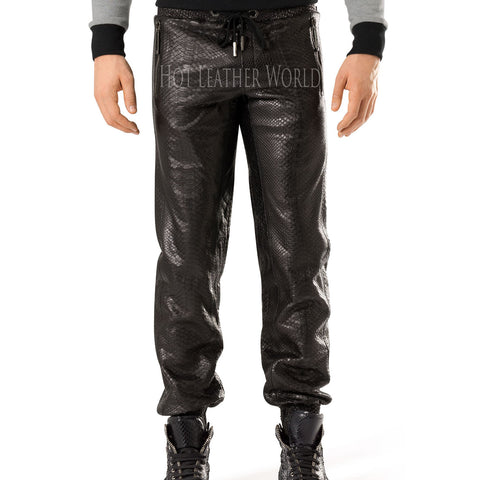 Crocodile Print Leather Pants For Men