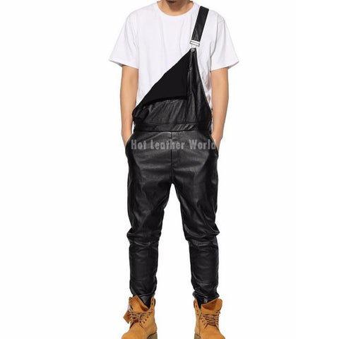 Dungry Adjustable strap Leather Jumpsuit For Men -  HOTLEATHERWORLD