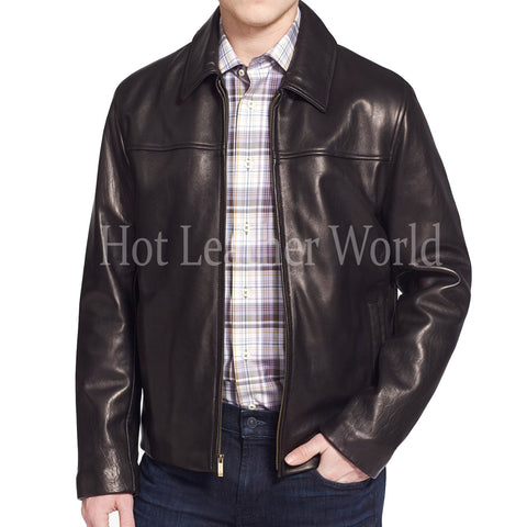 Cool Style Lambskin Leather Coat for Men