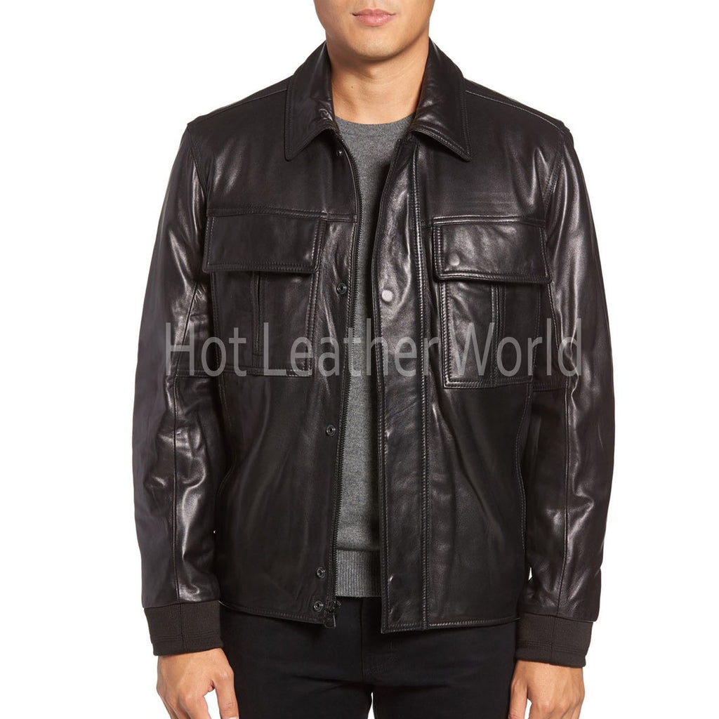 Bomber Style Leather Coat for Men -  HOTLEATHERWORLD
