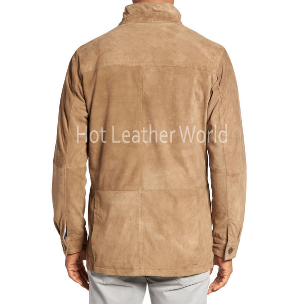 Suede Safari Style Leather Coat for Men