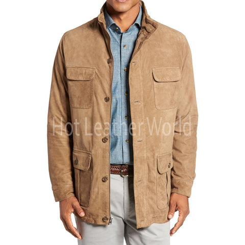 Suede Safari Style Leather Coat for Men -  HOTLEATHERWORLD