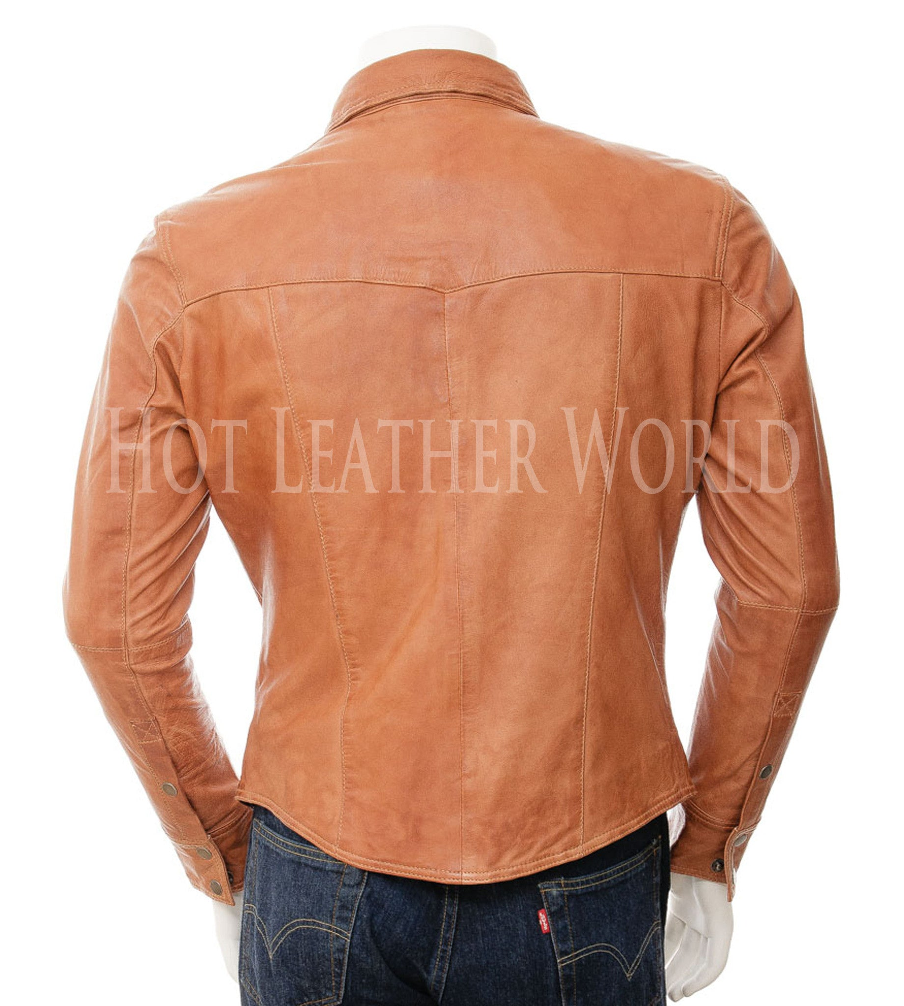 Tan Lamb Skin Leather Blazer For Men -  HOTLEATHERWORLD