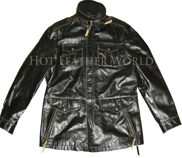 Leather Military Jacket For Men -  HOTLEATHERWORLD