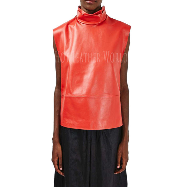 Funnel Neck Leather Top For Women -  HOTLEATHERWORLD