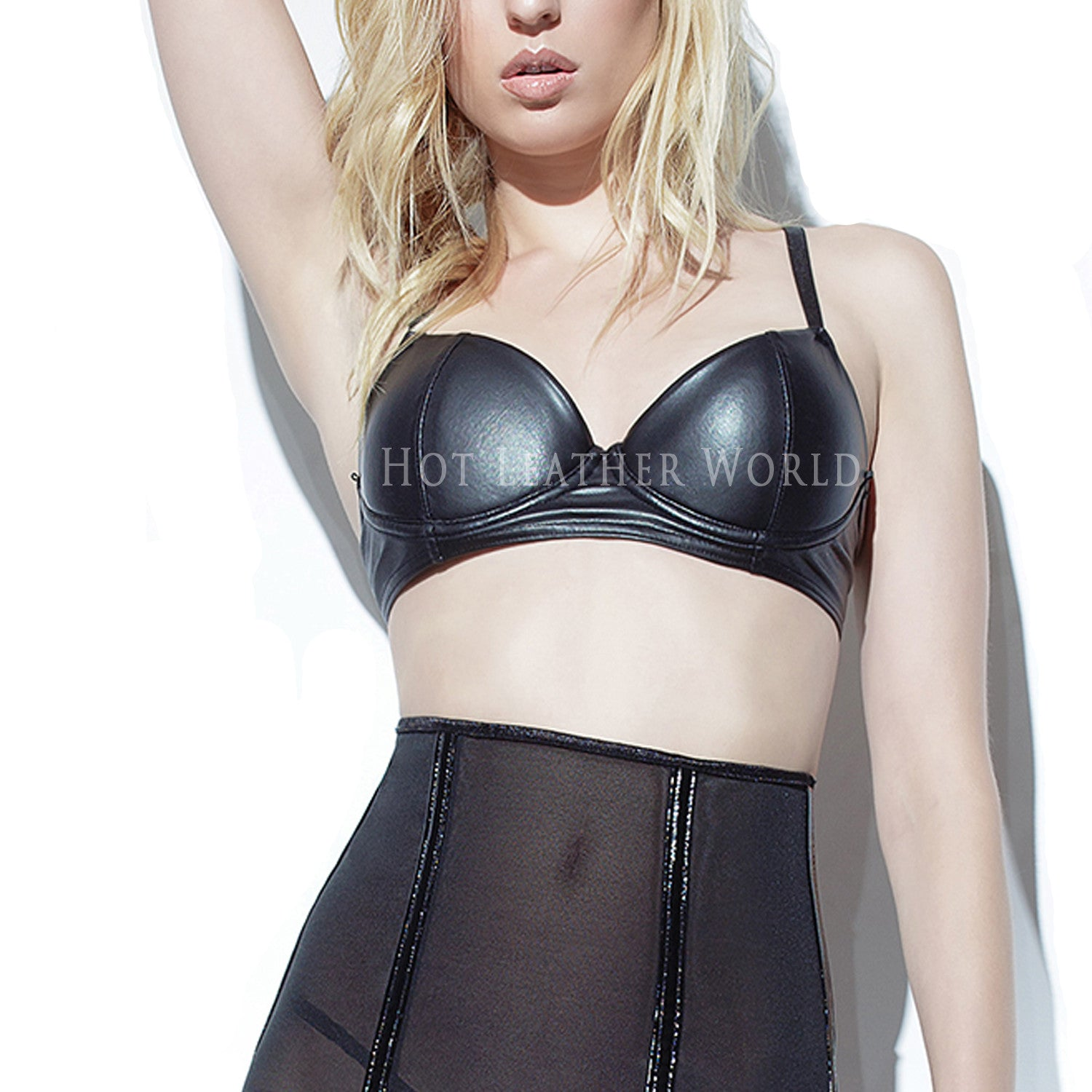 Black Wet Look Bra -  HOTLEATHERWORLD