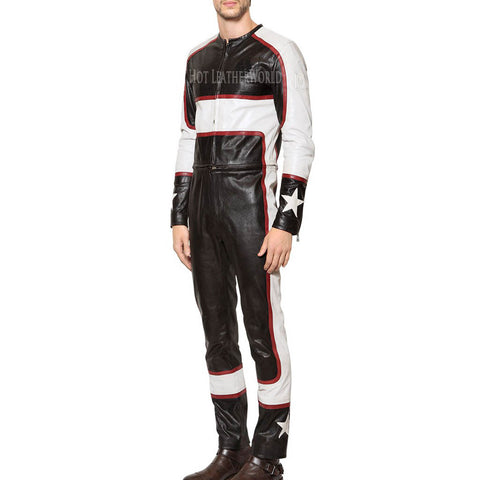 Men Leather Racing Jumpsuit