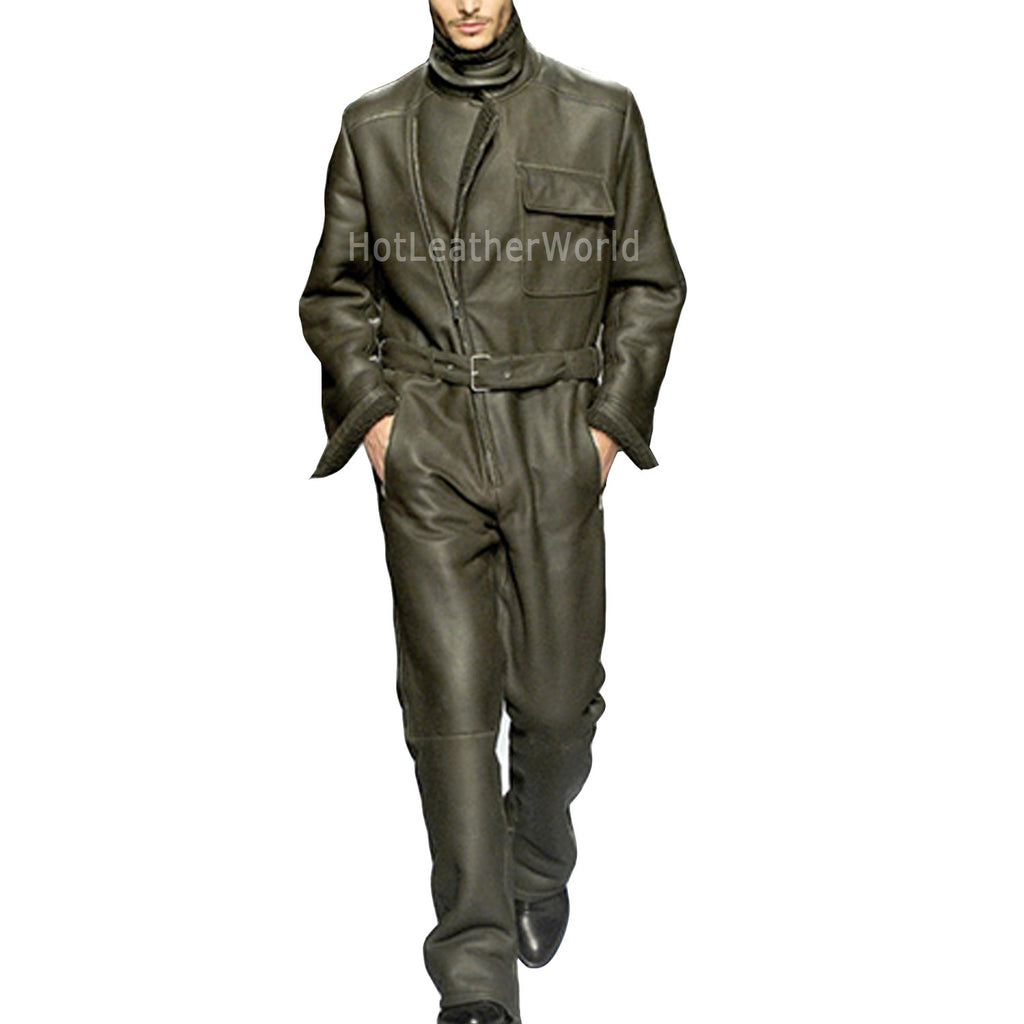 Cool Style Leather Jumpsuit For Men