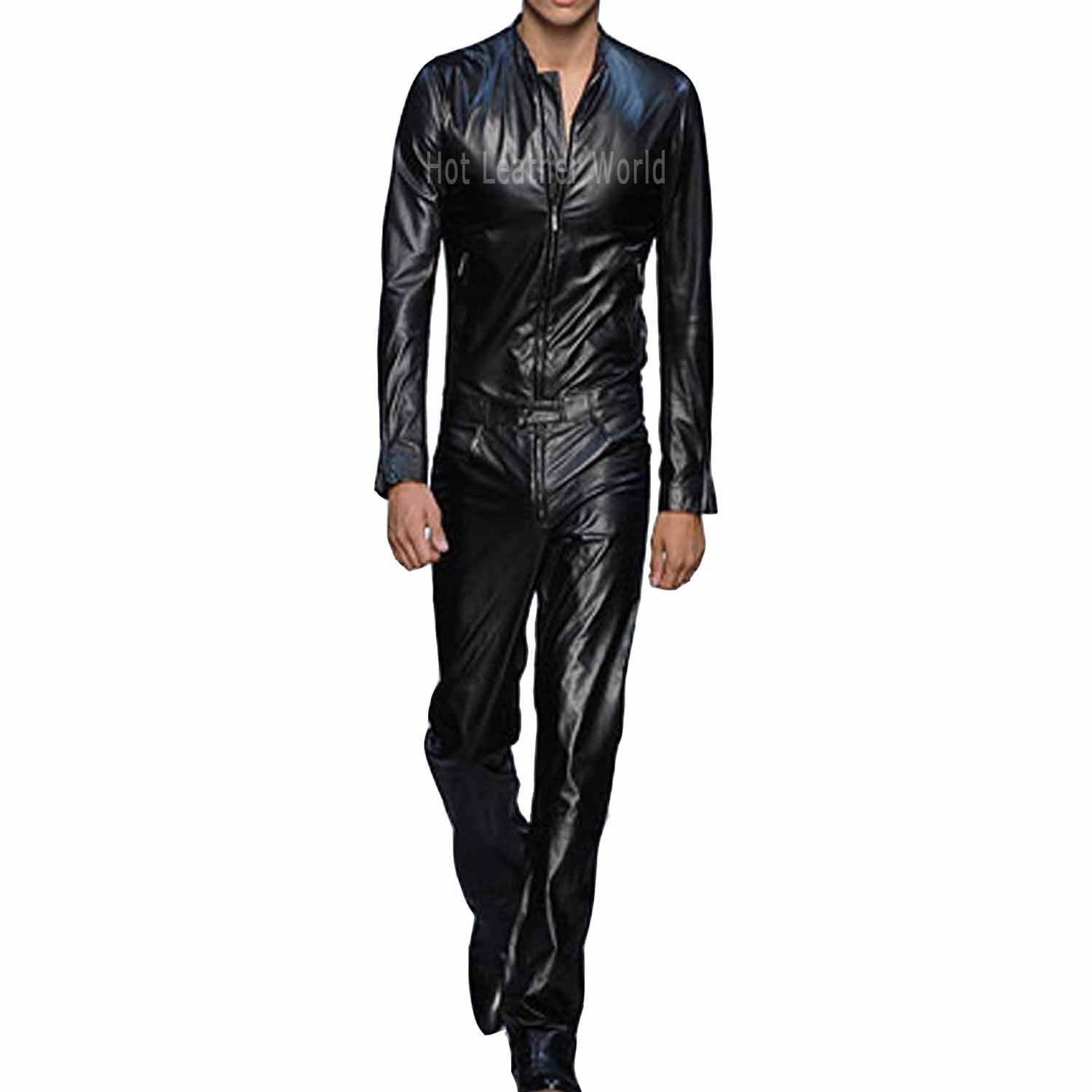 Cool Style Lamb Skin Leather Jumpsuit -  HOTLEATHERWORLD