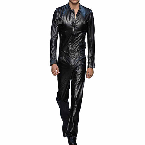 Cool Style Lamb Skin Leather Jumpsuit