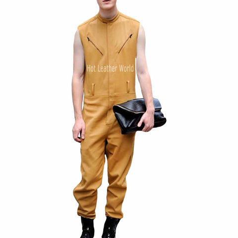 Stunning Style Men Leather Jumpsuit