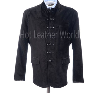 Suede Leather Military Men Jacket -  HOTLEATHERWORLD