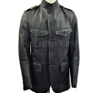 Grained Leather Military Black Jacket -  HOTLEATHERWORLD