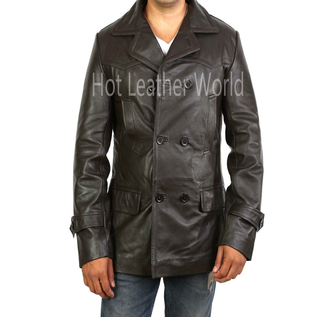 Brown Double Breasted Military Trench Coat For Men -  HOTLEATHERWORLD