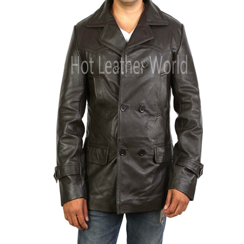 Brown Double Breasted Military Trench Coat For Men