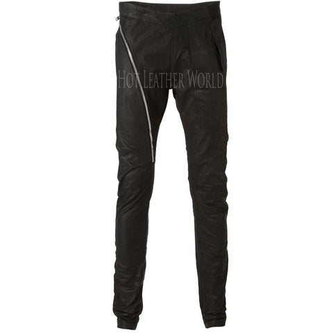Asymmetric Zip Skinny Trousers For Men