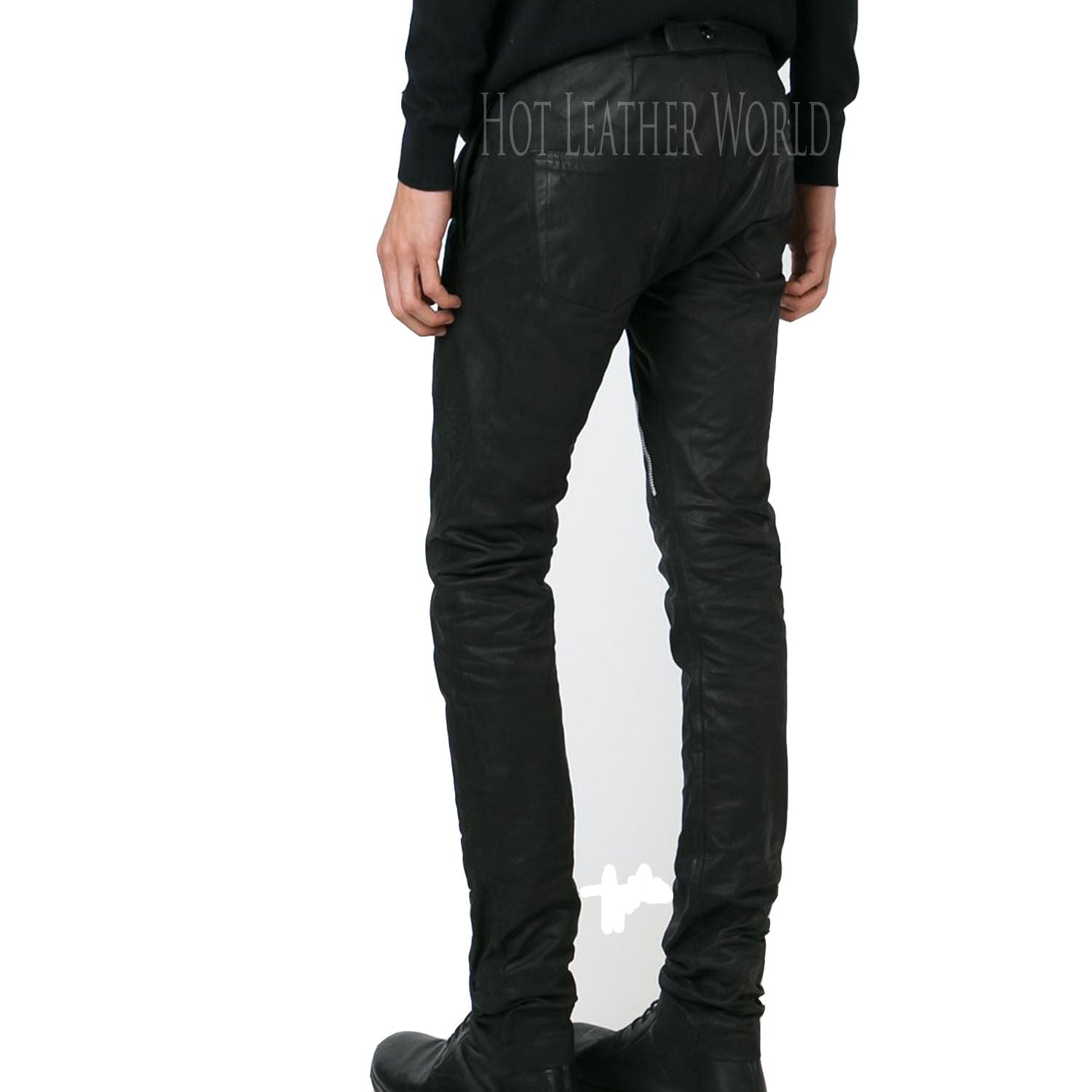 Asymmetric Zip Skinny Trousers For Men -  HOTLEATHERWORLD