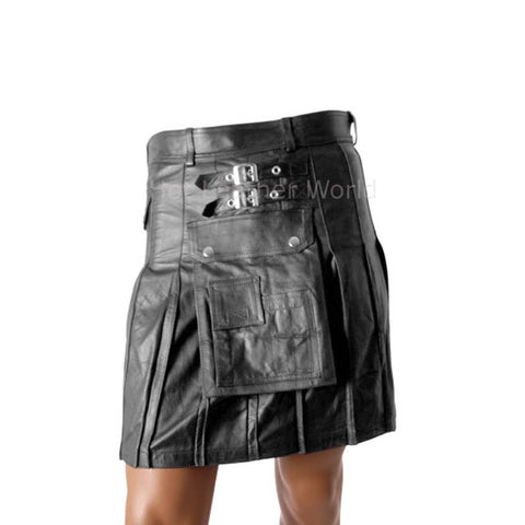 Scottish Styled Men Leather Pleated Kilt