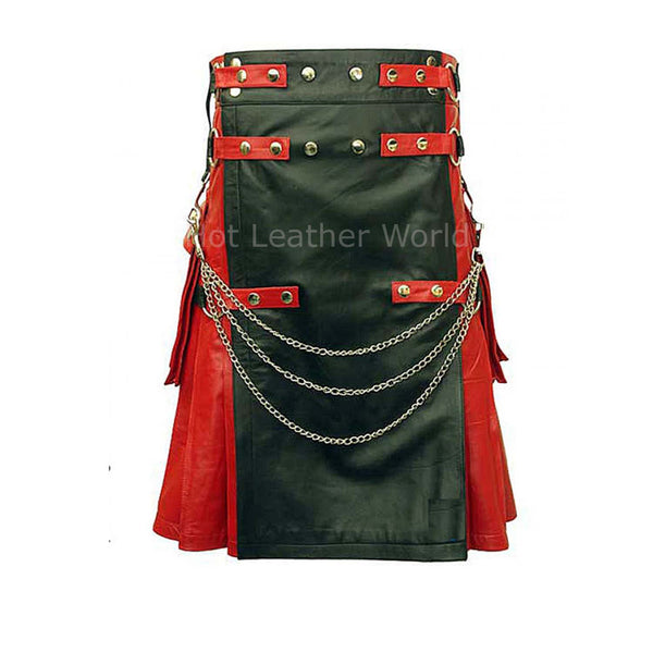 Designer Style Men Scottish Leather Kilt -  HOTLEATHERWORLD