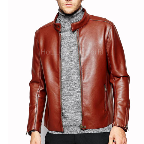 Designer Style Men Leather Bomber Jacket -  HOTLEATHERWORLD