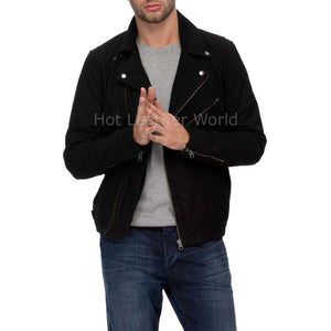 Suede Leather Men Biker Jacket -  HOTLEATHERWORLD