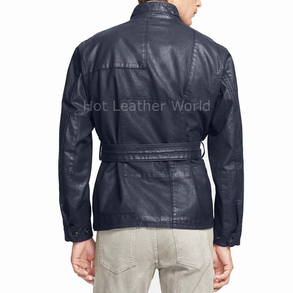 New Elegant Winter Men Leather Coat