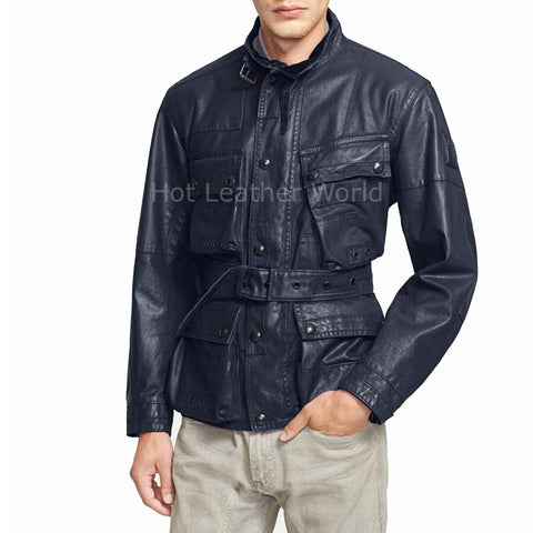 New Elegant Winter Men Leather Coat -  HOTLEATHERWORLD