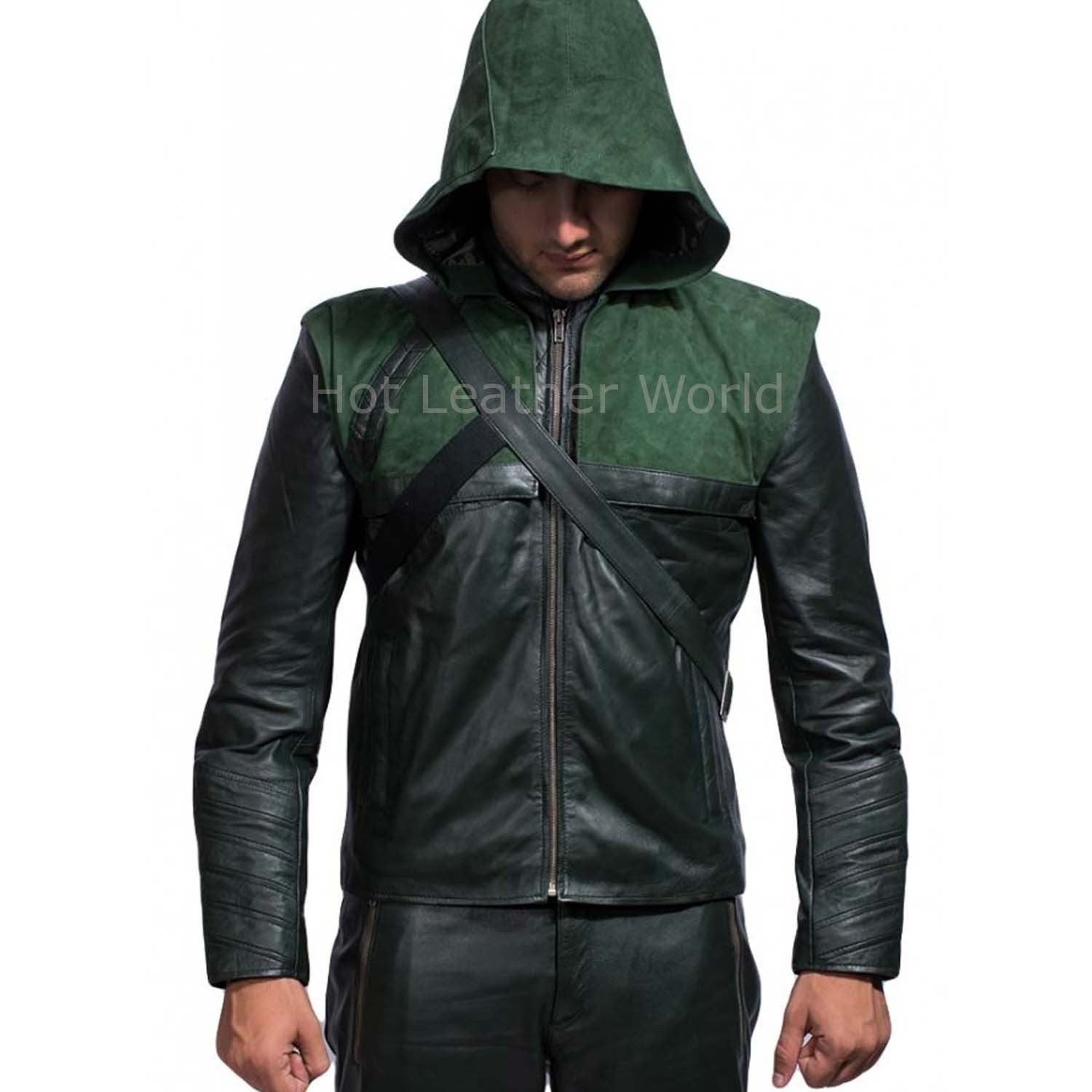Stephen Amell Green Arrow Leather Replica Hoodie Jacket -  HOTLEATHERWORLD