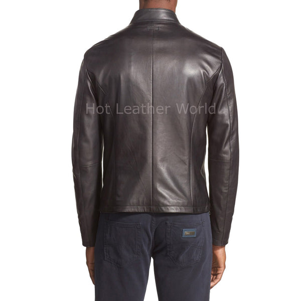 Paneled Details Men Biker Leather Jacket