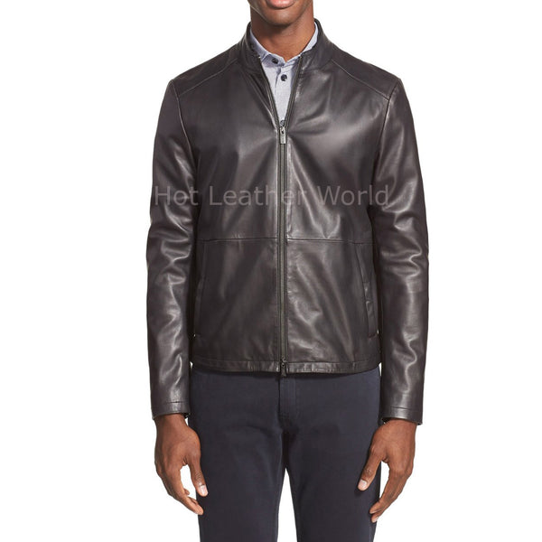 Paneled Details Men Biker Leather Jacket -  HOTLEATHERWORLD
