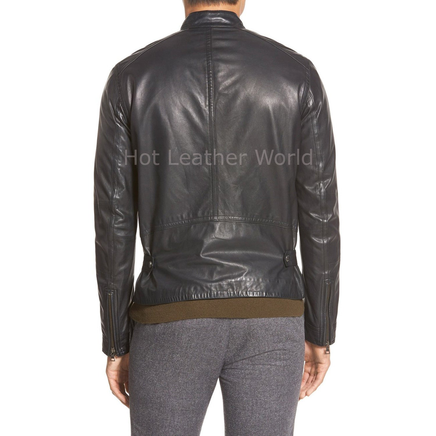 Tab Collar Men Leather Jacket -  HOTLEATHERWORLD