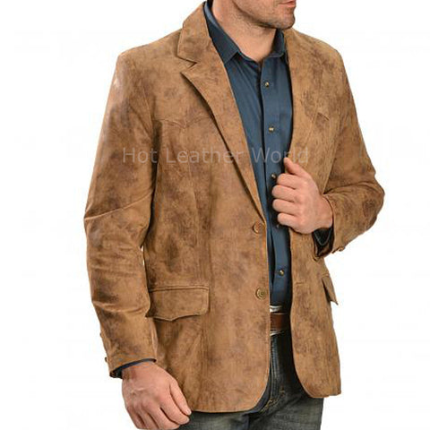 Suede Leather Men Corporate Blazer -  HOTLEATHERWORLD