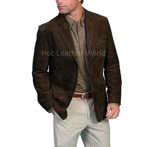 Elegant Suede Leather Men Blazer -  HOTLEATHERWORLD