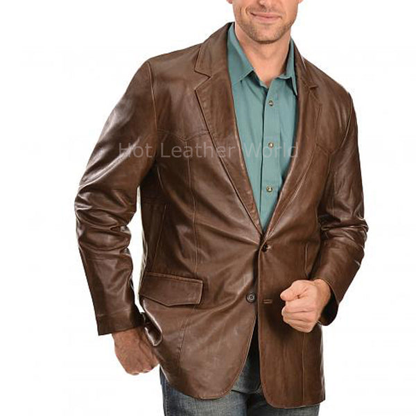 Notch Collar Men Leather Blazer