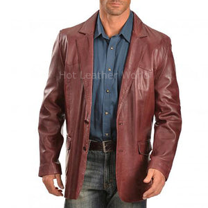 Classic Style Men Leather Blazer -  HOTLEATHERWORLD